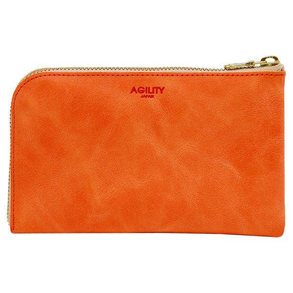 財布 ウォレット L字ファスナー パスポート スマートフォン パスポートケース ポシェット オレンジ
