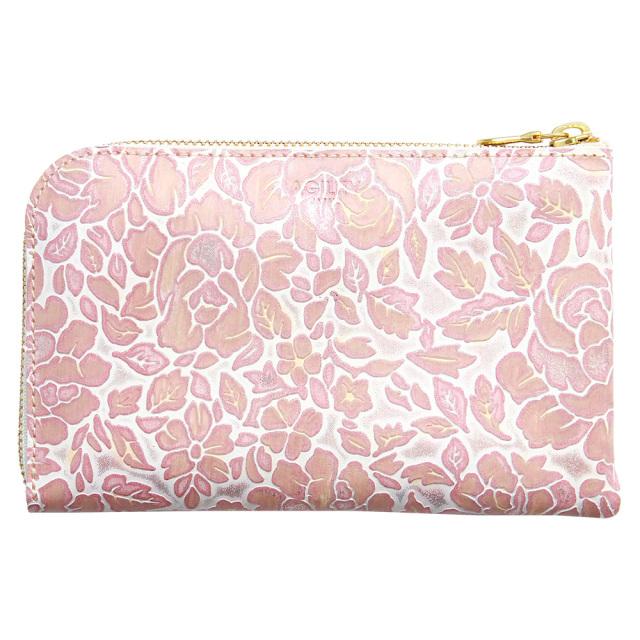 レディース 財布 花柄 L字ファスナー 本革 型押し 旅行財布 トラベルウォレット ピンク