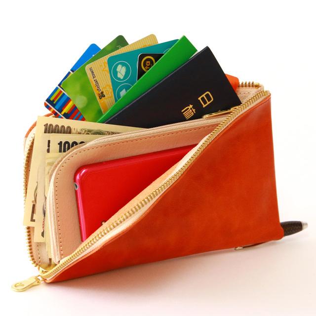 財布 ウォレット L字ファスナー パスポート スマートフォン ポシェット
