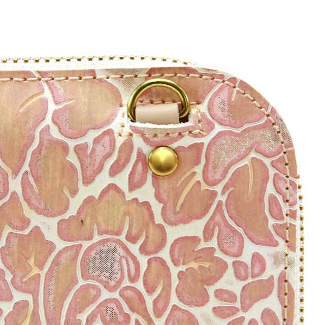 レディース 財布 花柄 L字ファスナー 本革 型押し 旅行財布 トラベルウォレット