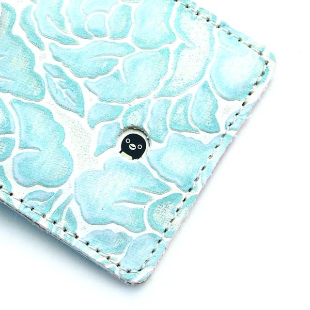 レディース パスケース リール付き 花柄 型押し 定期入れ icカード 2枚