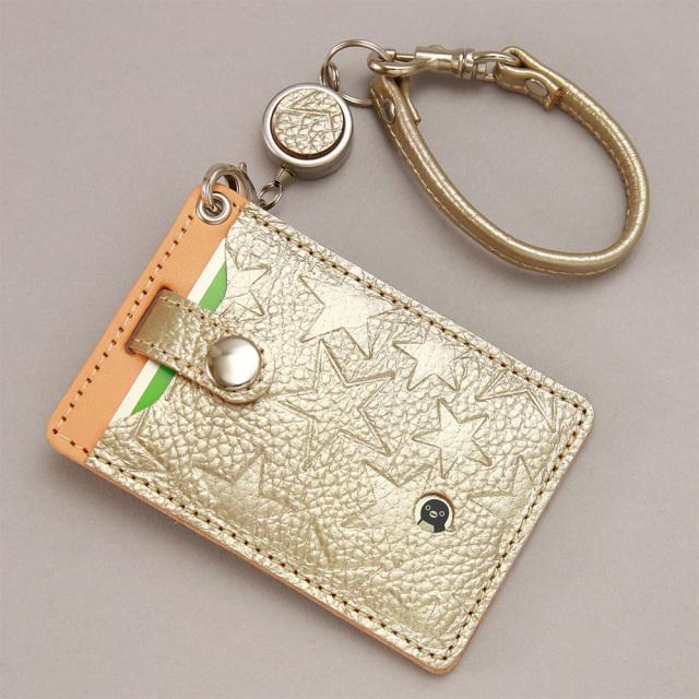 パスケース 定期入れ リール付き 2枚 suica 星柄 レディース 金 銀