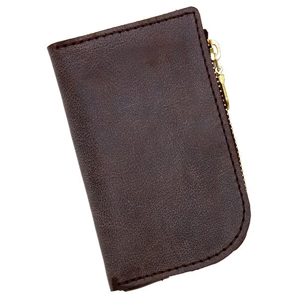 キーケース コインケース カードケース 極小財布 ミニ 小さい L字 革 本革 チョコ