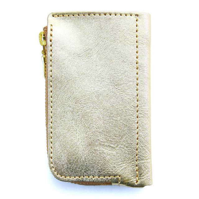 キーケース コインケース 一体型 金 銀 ゴールド シルバー 本革 おしゃれ