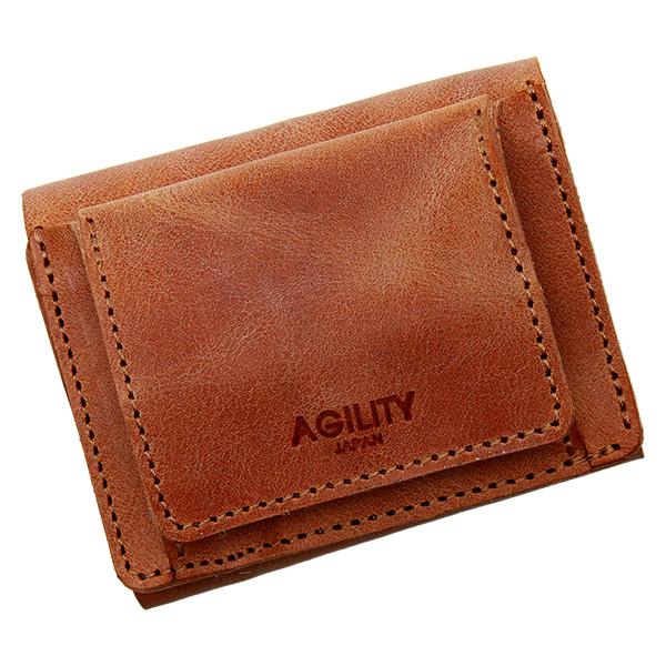 ミニ財布 三つ折財布 極小財布 レザー 革 本革 ミニ 小さい 小ぶり 薄い ブラウン
