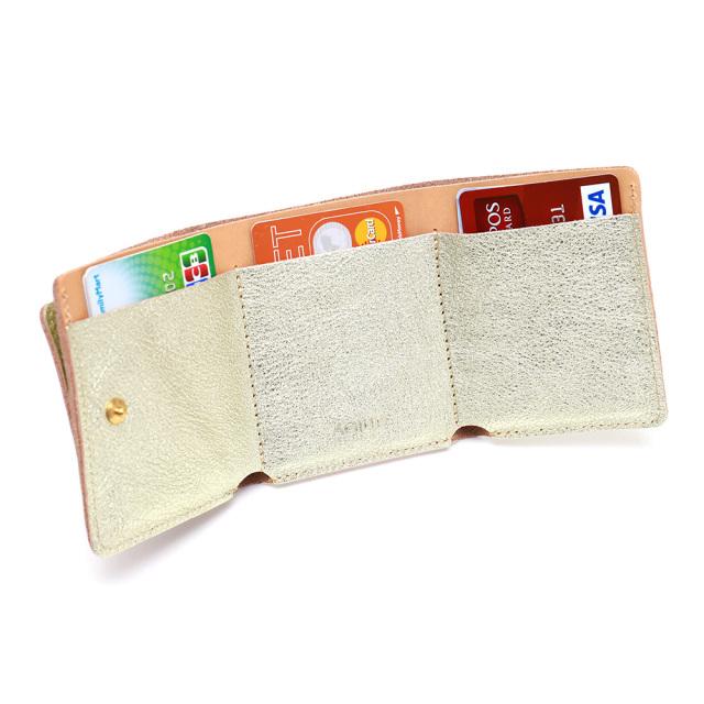 ミニ財布 三つ折財布 極小財布 レザー 革 本革 ミニ 小さい 金 銀 ゴールド シルバー