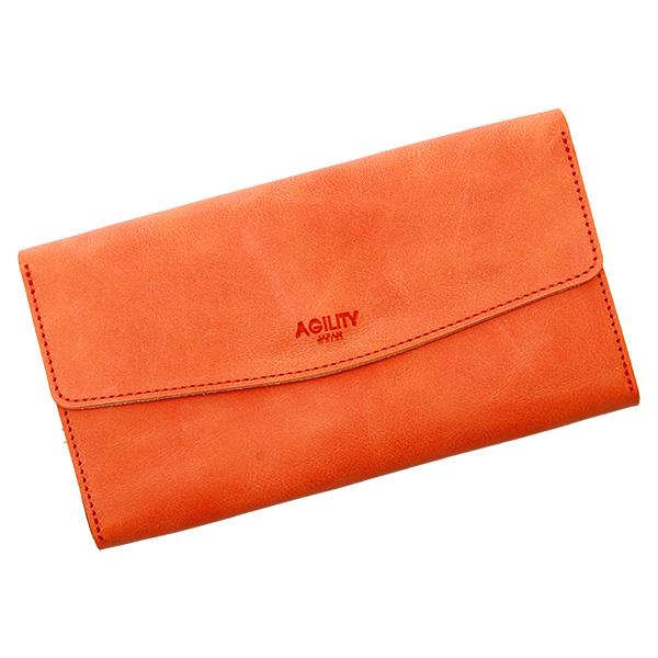 長財布 フラップ財布 フラップ 大容量 シンプル 革 本革 牛革 薄い オレンジ