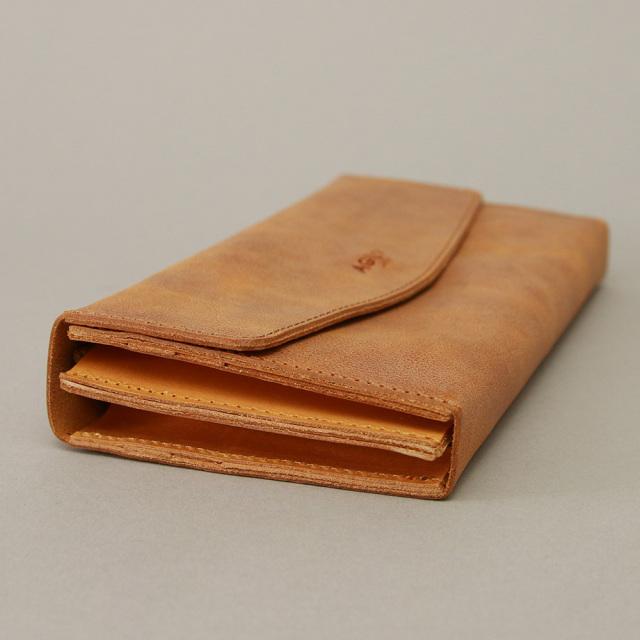 長財布 フラップ財布 フラップ 大容量 シンプル 革 本革 牛革 薄い