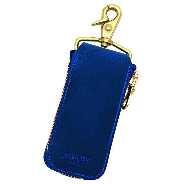 キーケース キーリング スマートキー レザー シンプル 本革 ナスカン 小さめ ブルー