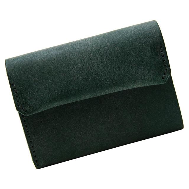 財布 折財布 極小財布 スマート 小さめ 薄い ミニ財布 コンパクト 本革 グリーン