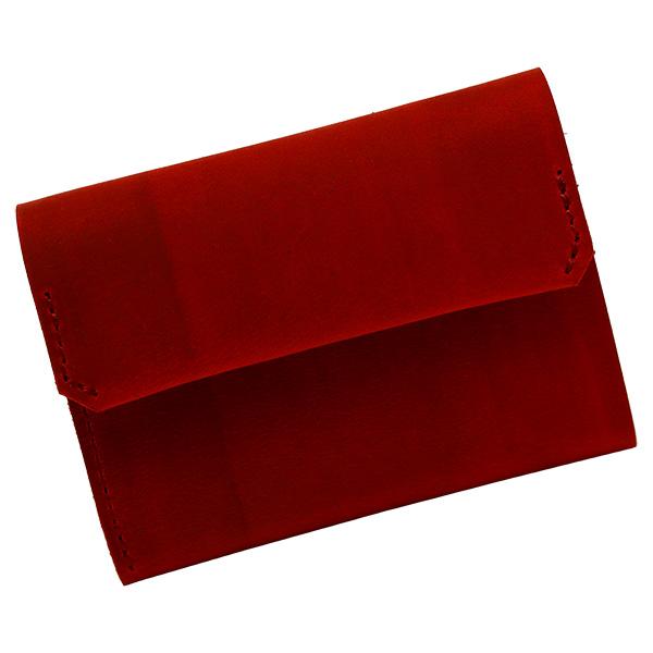 財布 折財布 極小財布 スマート 小さめ 薄い ミニ財布 コンパクト 本革 レッド