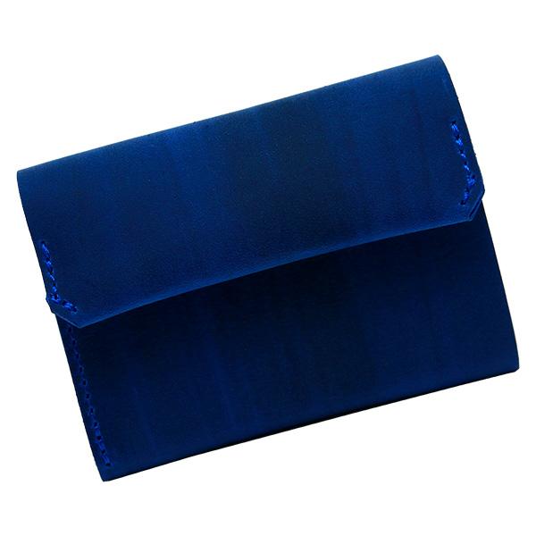 財布 折財布 極小財布 スマート 小さめ 薄い ミニ財布 コンパクト 本革 ブルー