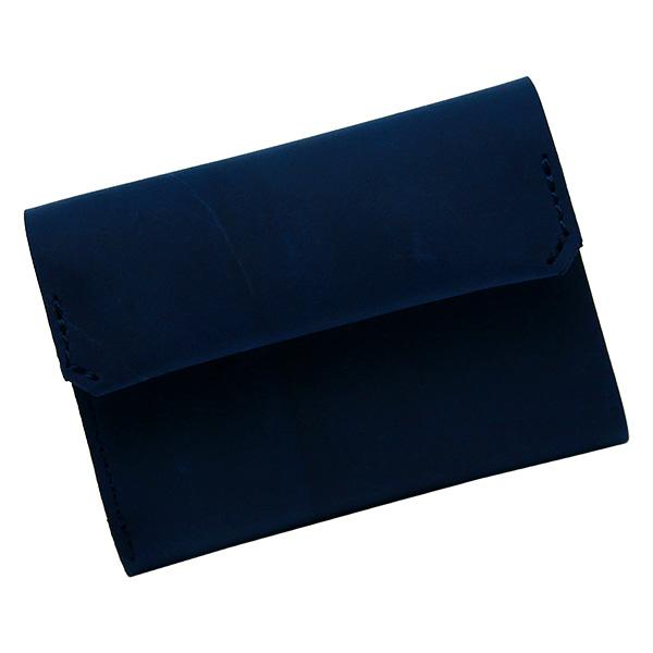 財布 折財布 極小財布 スマート 小さめ 薄い ミニ財布 コンパクト 本革 ネイビー