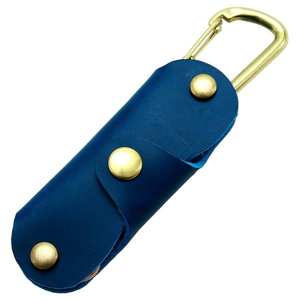 キーケース 革 レザー シンプル ナスカン 極小 小さい ミニ おしゃれ かわいい ブルー