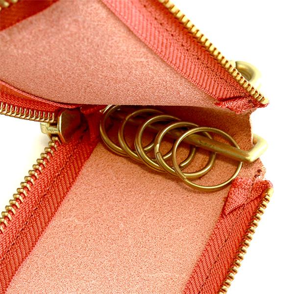 キーケース 革 スマートキー パスケース ラウンドファスナー 薄い ベルトループ