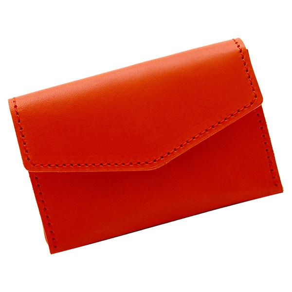 コインケース ファスナーなし 極小財布 ミニ財布 革 レザー 小さい ミニ財布 フラップ オレンジ