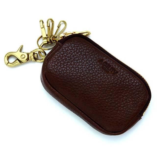 キーケース スマートキー 本革 ファスナー付き ICカード パスケース 一体型 チョコ