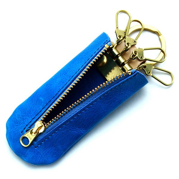 キーケース シンプル 4連 キーフック 小さめ 本革 レザー スティック型 おしゃれ ブルー