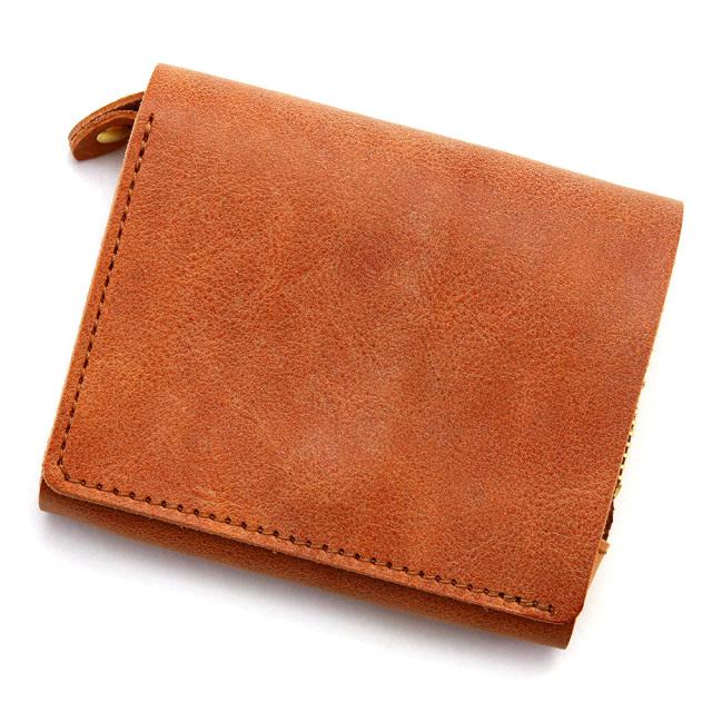 二つ折り財布 フラップ 縦 L字ファスナー コンパクト 小さい 本革 レザー ブラウン