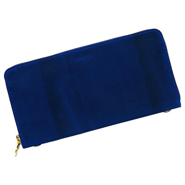 長財布 ロングウォレット 札入れ 小銭入れ ラウンドファスナー ブルー