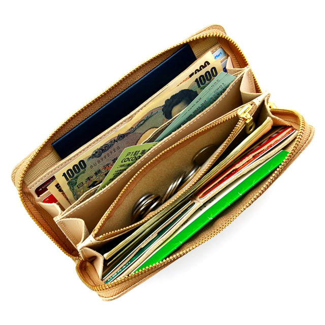 長財布 レディース ラウンドファスナー 本革 レザー 金 銀 ゴールド シルバー 箔