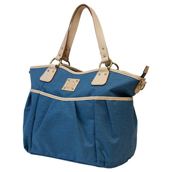 レディース マザーズバッグ トートバッグ 大容量 A4 ナイロン デニム調 日本製 ブルー