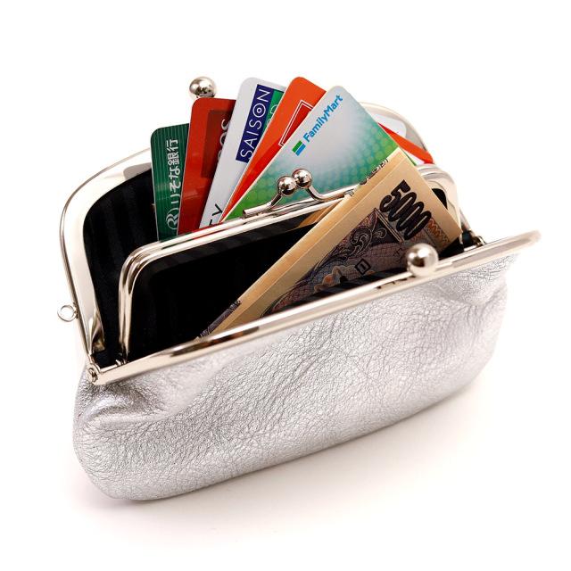 日本製 親子がま口 コインケース カードケース財布 シルバー ゴールド