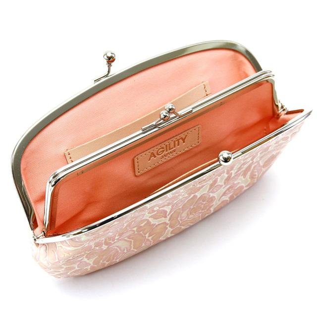 レディース 長財布 がま口 親子がま口 花柄 型押し 本革 財布 本革 ポシェット