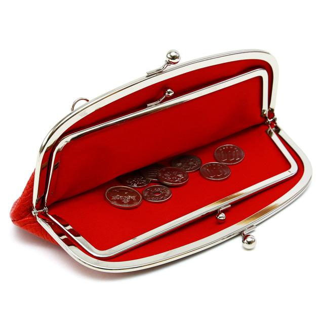 レディース 長財布 がま口 親子がま口 メッシュ 本革 財布 本革 ポシェット