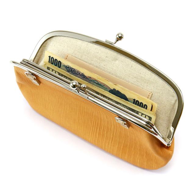 長財布 がま口 ポシェット 親子がま口 木目調 ウッドレザー 本革 レザー