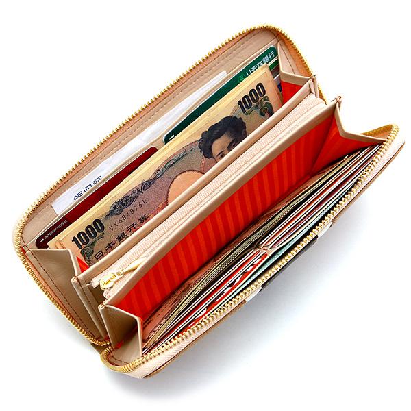 ラウンドファスナー 長財布 レディース ストライプ かわいい イタリアンレザー