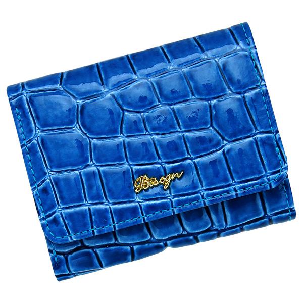 三つ折り財布 レディース コンパクトウォレット 極小財布 ミニ財布 革 エナメル ライトブルー