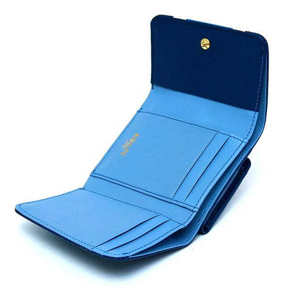 三つ折り財布 レディース コンパクトウォレット 極小財布 ミニ財布 革 ストライプ