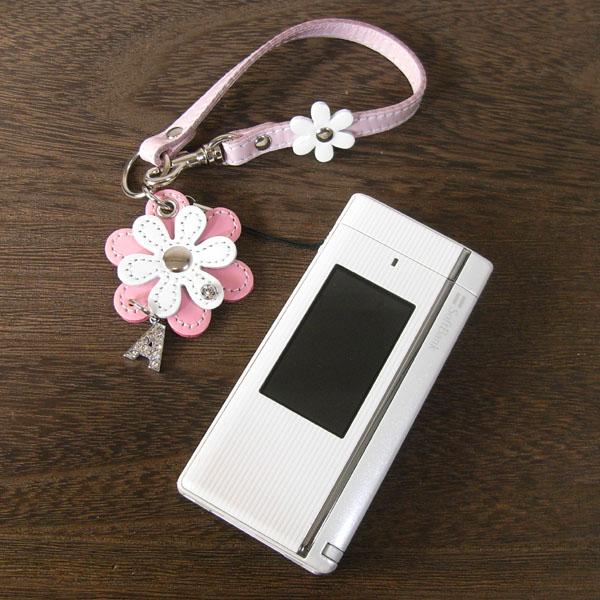 日本製 携帯ストラップ レザーチャーム スマートフォン スマホ 花 フラワー