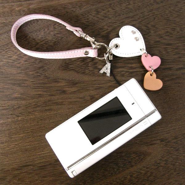 日本製 携帯ストラップ レザーチャーム スマートフォン スマホ ハート