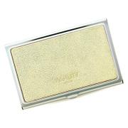 カードケース 名刺入れ 金属 ステンレス 牛革 レザー ゴールド