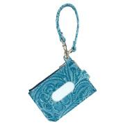 パスケース 財布 一体 ミニ財布 L字ファスナー 定期入れ 花柄 フラワー ブルー