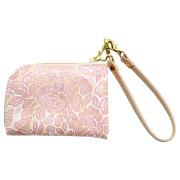レディース コインケース 花柄 型押し 本革 小銭入れ レザー カードケース ピンク