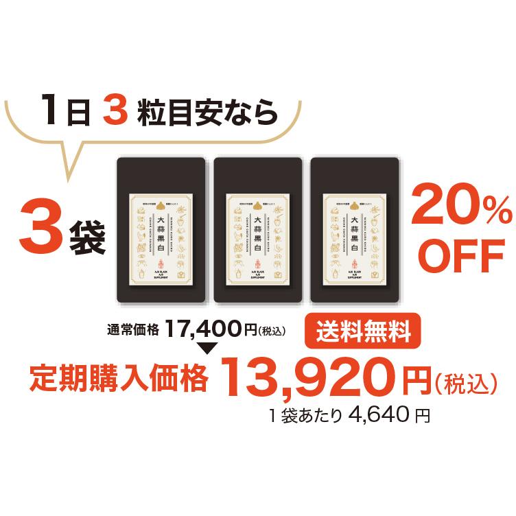 【会員・定期購入3袋以上】にんにく専門店がつくった究極のにんにくサプリメント「大蒜黒白」(にんにくくろしろ)