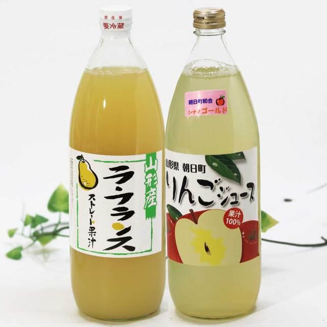 りんご(シナノゴールド)、ら・ふらんすジュース 1,000ml 2本セット【朝日町産果実】