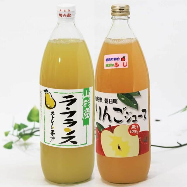 りんご(ふじ)、ら・ふらんすジュース 1,000ml 2本セット【朝日町産果実】