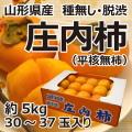 旬の味覚 山形県産 庄内柿(平核無柿)約5kg30玉〜37玉 脱渋済み・種無し そのまま食べられます