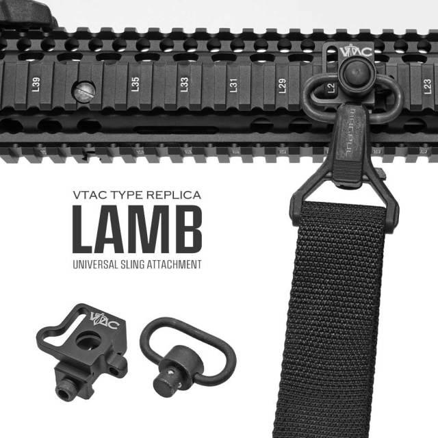 【 MP製 】 20mmレイル 対応 VTAC タイプ LAMB スリングマウント & QDスリングスイベル セット QDスリングマウント BK