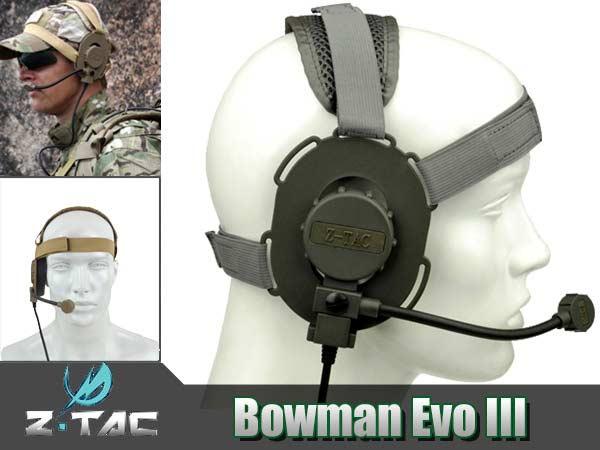 ◎【限定特別価格】New!!左右取り替え可能!!Z-TAC製 Z029 BOWMAN EVO IIIタクティカルヘッドセット(ミリタリータイププラグ)