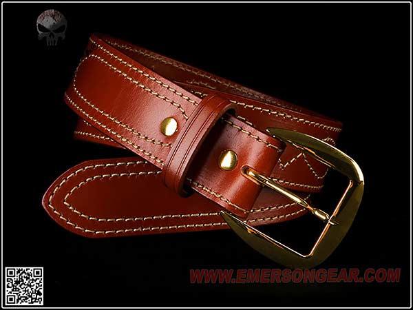 ☆2019 Perfect Version 米軍特殊部隊でおなじみコンバットパンツ用レザーベルト!!【EMERSON製】EmersonGear SB6 Fancy Stitched Belt(ビアンキタイプレプリカ)/ EM9522