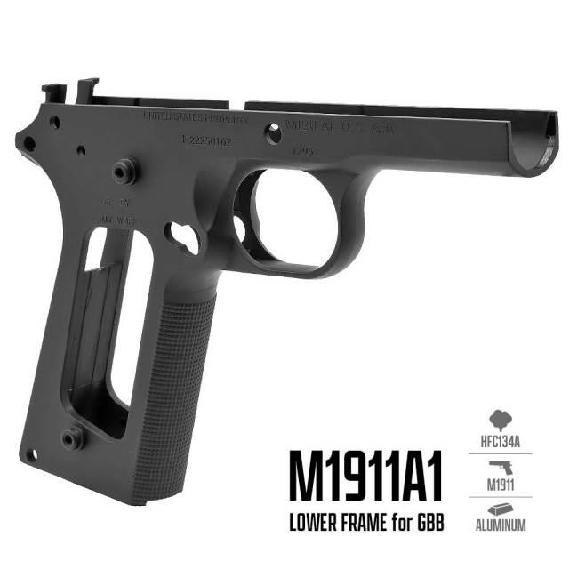 ☆【ネコポス可】刻印入Ver【ARMY FORCE製】ガスブローバックガン M1911用 金属製フレーム (M1911A1ロアフレーム)金属製 - ブラック / ARMY-089BK