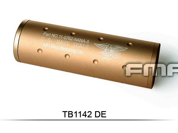 【FMA製】 14mm正/逆ネジ両方対応 NAVY SEALs刻印入 108mm ショートサイレンサー / TB1142-DE