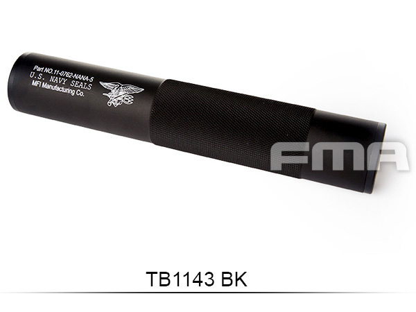 【FMA製】 198mm アルミサイレンサー U.S.NAVY SEALS刻印 BK (14mm正/逆ネジ対応)TB1143-BK