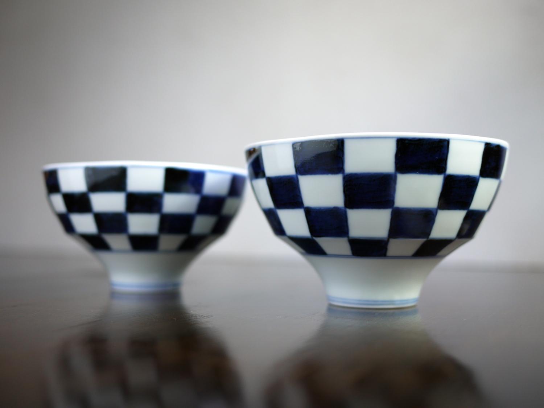 李荘窯 市松文 飯碗