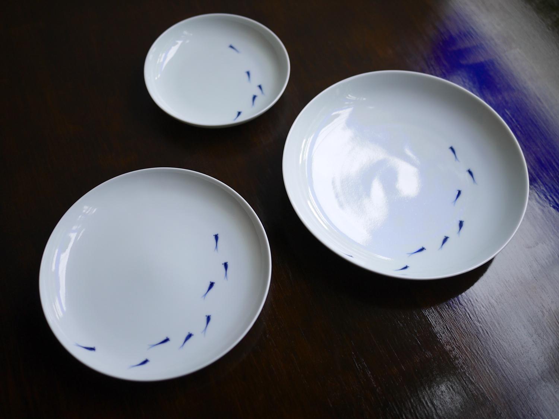李荘窯 メダカ文皿(6寸)